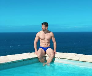 abs, male body, and blue image