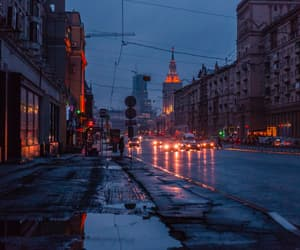 city, downtown, and rain image