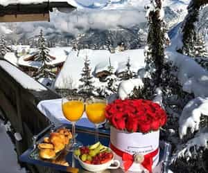 breakfast, rose, and snow image