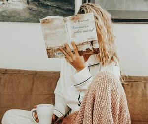 girl, book, and coffee image