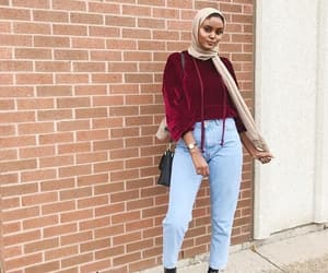 denim, hijab, and red image