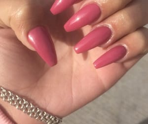 nails, pink, and longnails image