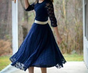tea length dress, dress, and lace dress image