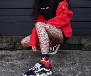 red and black, streetwear, and aesthetic outfit image