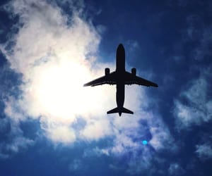 airplane, sky, and blue image