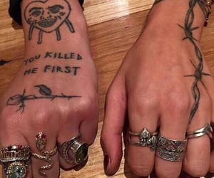 hands, ring, and tatto image