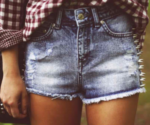 girl, shorts, and studs image