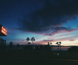 sky, santa monica, and night image
