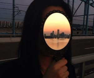 city, girl, and mirror image