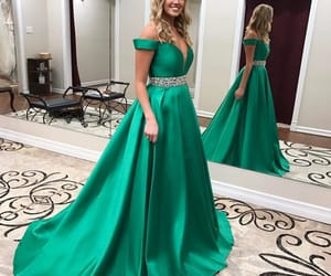 evening dress, fashion, and off the shoulder image