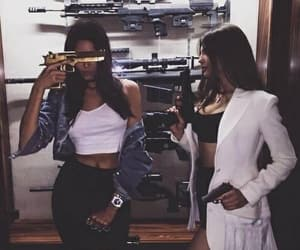 girl, gun, and friends image