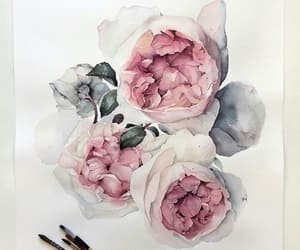 art, flowers, and peony image