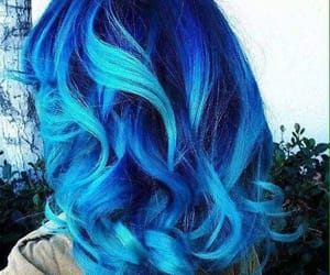 blue, curly hair, and haircolor image