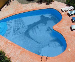 heart, pool, and summer image