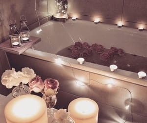 bathroom, roses, and candles image