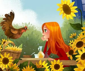 hen, morning, and spring image