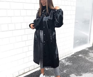 beret, black coat, and long coat image