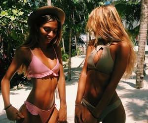 beach, bikini, and friends image