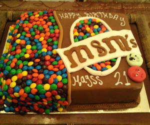 cake, m&m's, and chocolate image