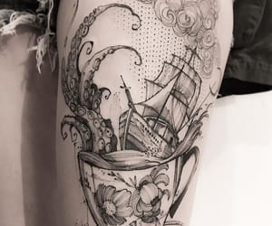 boat, flower, and ink image