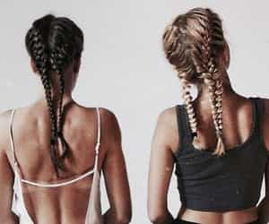 braided, hair, and stripes image