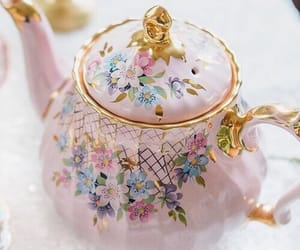 gold, pink, and teapot image