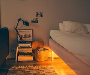 bed, bedroom, and lights image