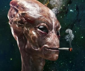 alien, smoking, and space image