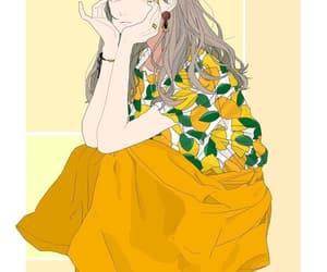 anime, girl, and orange image