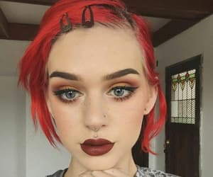 colored hair, lips, and dark lipstick image