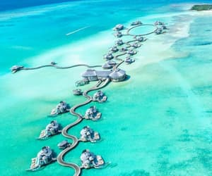 beach, blue, and Maldives image