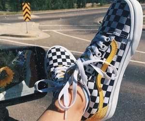 black and white, vans, and wear image
