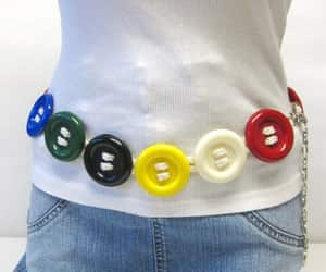 buttons, chain belt, and etsy image
