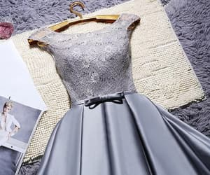 dress, grey, and taffeta image