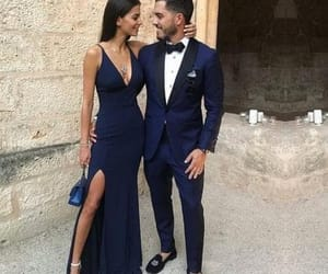prom dress, navy dress, and formal occasion dress image