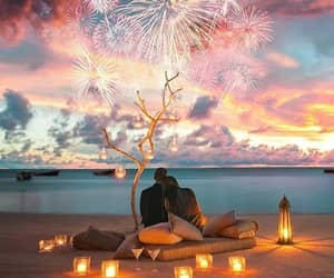 color, couple, and firework image