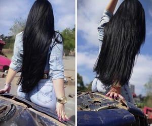 blackhair, girl, and longhair image