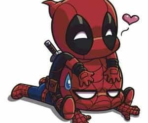 deadpool, Marvel, and spiderman image