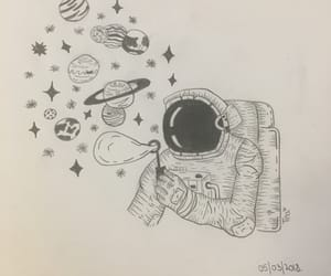 astronaut, draw, and galaxy image