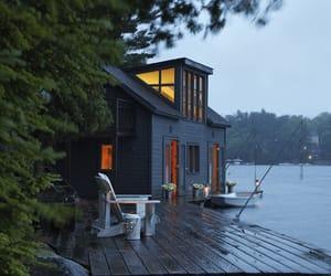 house, lake, and home image
