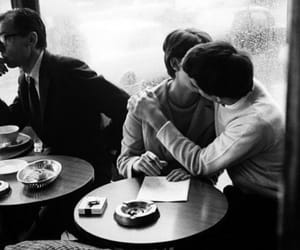 couple, black and white, and kiss image