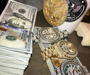 money, diamonds, and rolex image