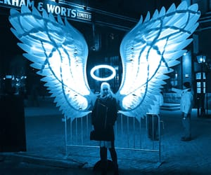 angel, blue, and neon image