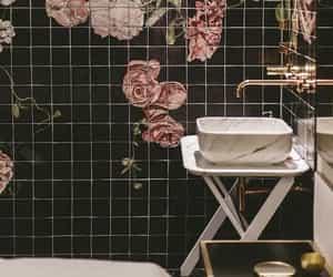 bathroom, black, and flowers image