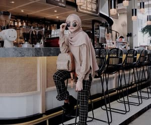 cafe, hijab, and style image