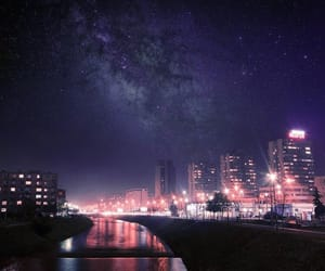 city, clouds, and galaxy image