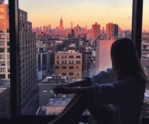 girl, sunset, and beautiful image