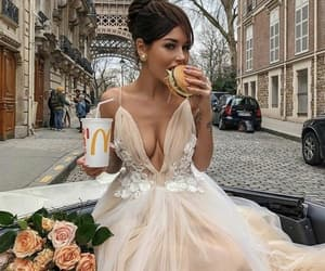 dress, flowers, and food image