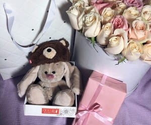 birthday, roses, and teddy bear image