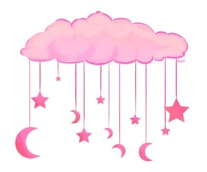 pink, clouds, and stars image